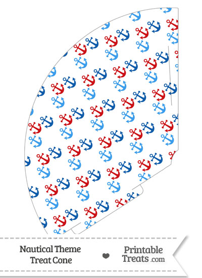 Red and Blue Anchors Treat Cone from PrintableTreats.com