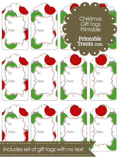 Red and Green Christmas Ornaments Gift Tags from PrintableTreats.com