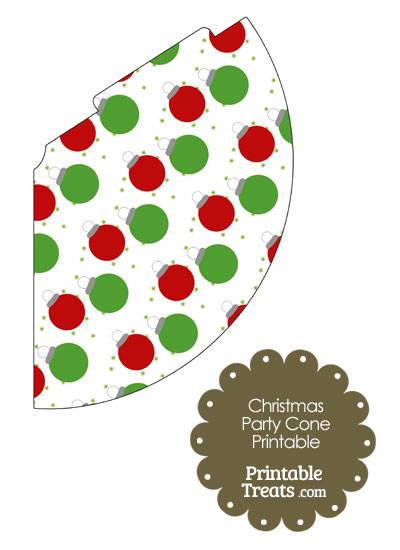 Red and Green Christmas Ornaments Party Cone from PrintableTreats.com