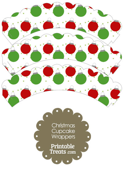 Red and Green Christmas Ornaments Scalloped Cupcake Wrappers from PrintableTreats.com