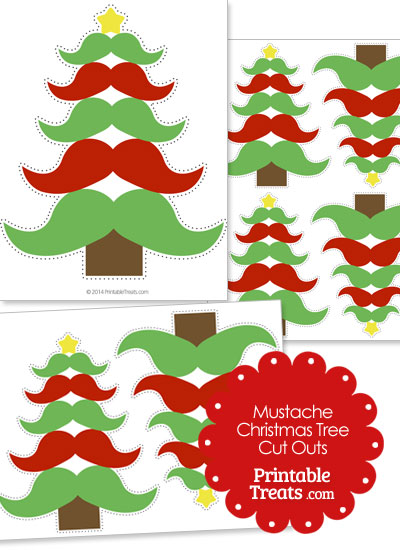 Red and Green Mustache Tree Cut Outs from PrintableTreats.com