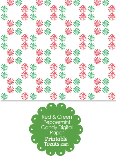Red and Green Peppermint Candy Digital Scrapbook Paper from PrintableTreats.com