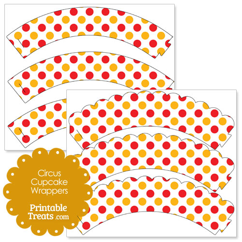 red and orange dots circus cupcake wrappers