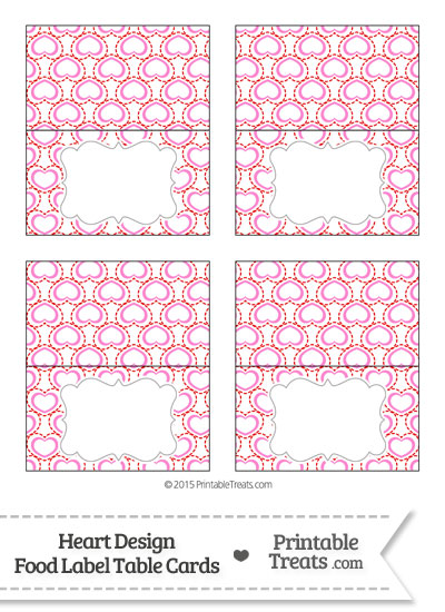 Red and Pink Heart Design Food Labels from PrintableTreats.com