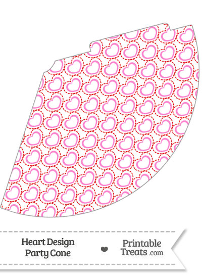 Red and Pink Heart Design Party Cone from PrintableTreats.com