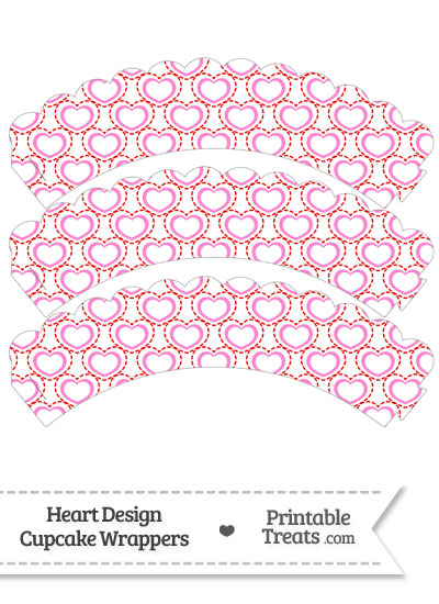 Red and Pink Heart Design Scalloped Cupcake Wrappers from PrintableTreats.com