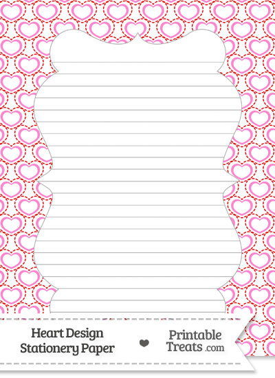 Red and Pink Heart Design Stationery Paper from PrintableTreats.com