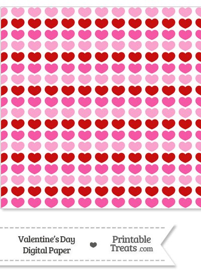 Red and Pink Hearts Digital Scrapbook Paper from PrintableTreats.com