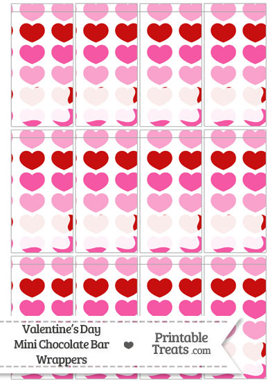 Red and Pink Hearts Mini Chocolate Bar Wrappers from PrintableTreats.com