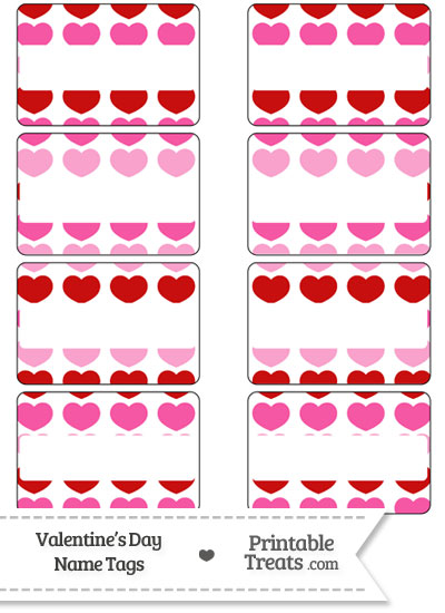 Red and Pink Hearts Name Tags from PrintableTreats.com