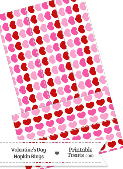 Red and Pink Hearts Napkin Rings from PrintableTreats.com