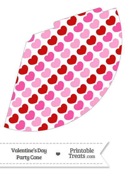 Red and Pink Hearts Party Cone from PrintableTreats.com