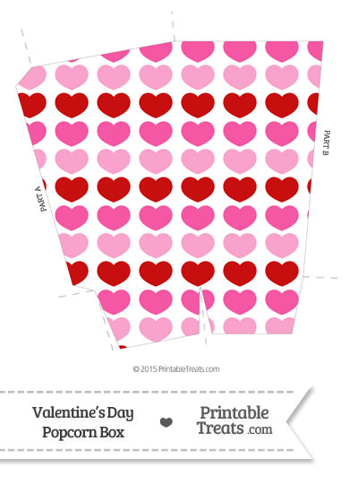 Red and Pink Hearts Popcorn Box from PrintableTreats.com