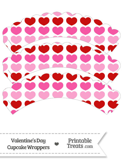 Red and Pink Hearts Scalloped Cupcake Wrappers from PrintableTreats.com