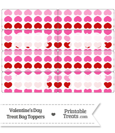 Red and Pink Hearts Treat Bag Toppers from PrintableTreats.com