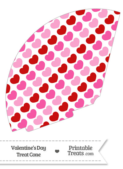 Red and Pink Hearts Treat Cone from PrintableTreats.com