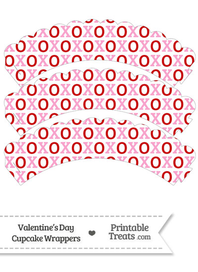 Red and Pink Hugs and Kisses Scalloped Cupcake Wrappers from PrintableTreats.com