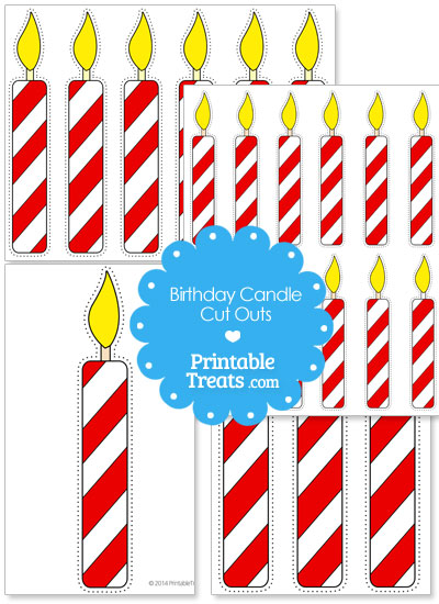 Red and white birthday candle cut outs from PrintableTreats.com