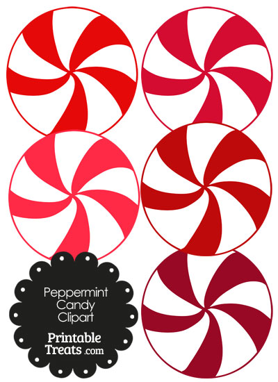 Red and White Peppermint Candy Clipart from PrintableTreats.com