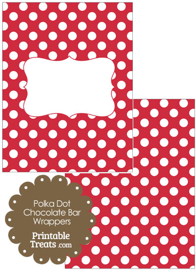 Red and White Polka Dot Chocolate Bar Wrappers from PrintableTreats.com