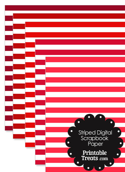 Red and White Striped Digital Scrapbook Paper from PrintableTreats.com