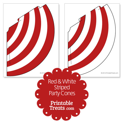 red and white striped party cones