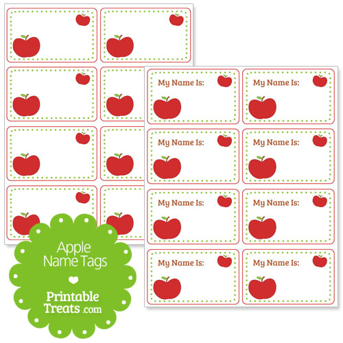 red apple name tags