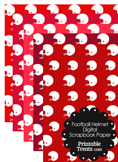Red Background Football Helmet Digital Scrapbook Paper from PrintableTreats.com