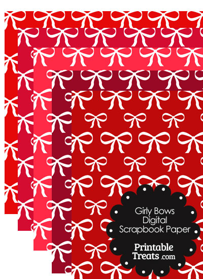 Red Background Girly Bow Digital Scrapbook Paper from PrintableTreats.com