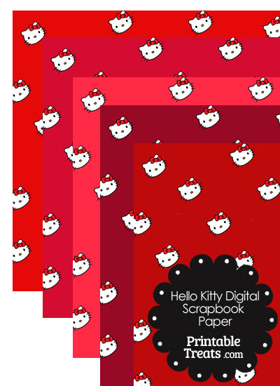 Red Background Hello Kitty Digital Scrapbook Paper from PrintableTreats.com