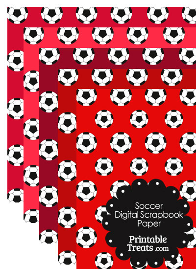 Red Background Soccer Digital Scrapbook Paper from PrintableTreats.com