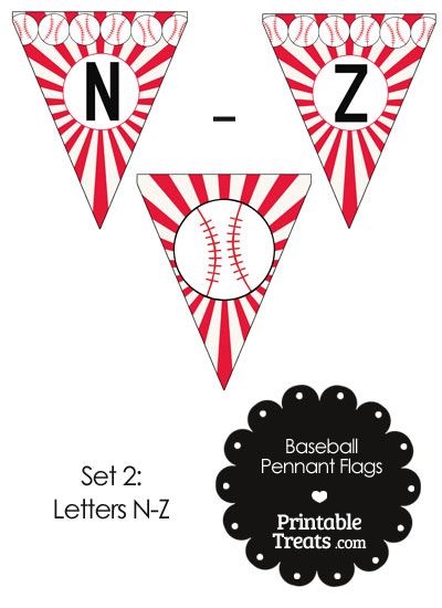 Red Baseball Party Flag Letters N-Z from PrintableTreats.com