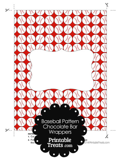 Red Baseball Pattern Chocolate Bar Wrappers from PrintableTreats.com