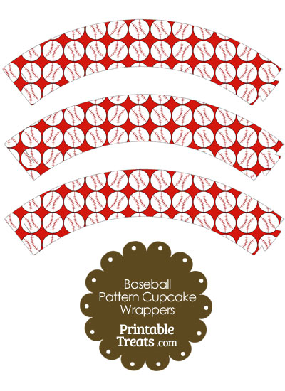Red Baseball Pattern Cupcake Wrappers from PrintableTreats.com