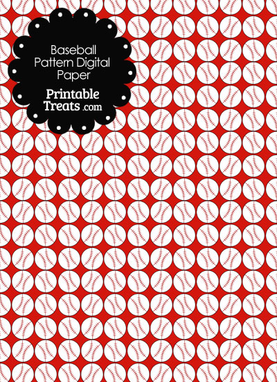 Red Baseball Pattern Digital Scrapbook Paper from PrintableTreats.com