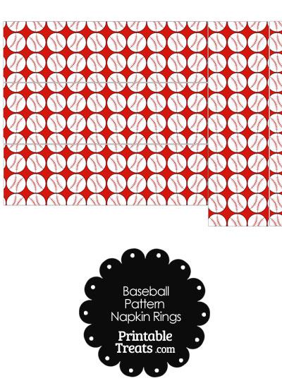 Red Baseball Pattern Napkin Rings from PrintableTreats.com