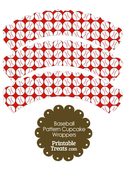 Red Baseball Pattern Scalloped Cupcake Wrappers from PrintableTreats.com