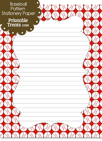 Red Baseball Pattern Stationery Paper from PrintableTreats.com