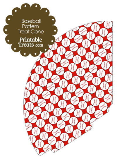 Red Baseball Pattern Treat Cone from PrintableTreats.com