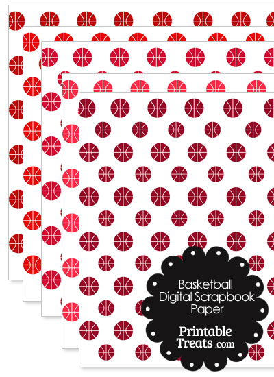 Red Basketball Digital Scrapbook Paper from PrintableTreats.com