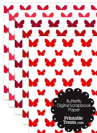 Red Butterfly Digital Scrapbook Paper from PrintableTreats.com