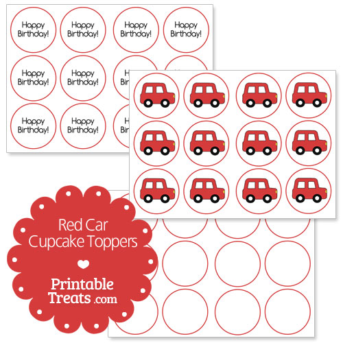 free red car cupcake toppers