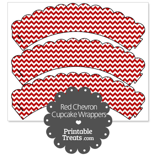 printable red chevron cupcake wrappers