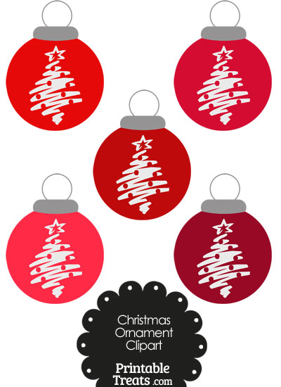 Red Christmas Tree Christmas Ornament Clipart from PrintableTreats.com