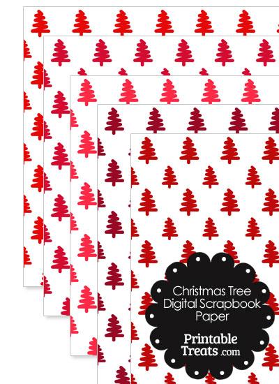 Red Christmas Tree Digital Scrapbook Paper from PrintableTreats.com
