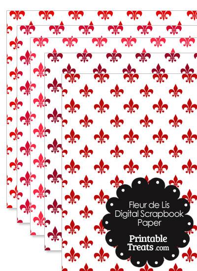 Red Fleur de Lis Digital Scrapbook Paper from PrintableTreats.com