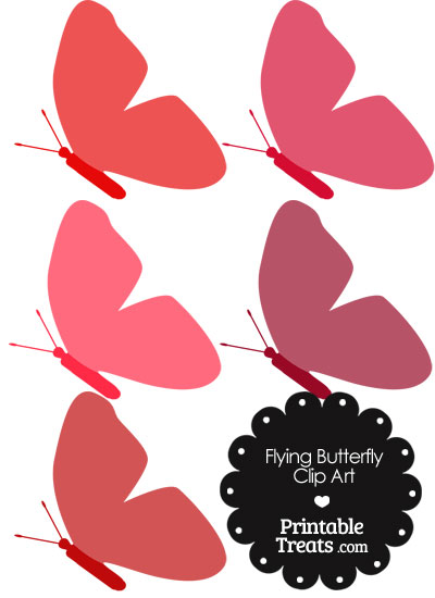 Red Flying Butterfly Clipart from PrintableTreats.com
