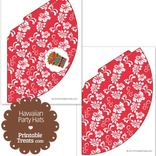 red Hawaiian party hat printable