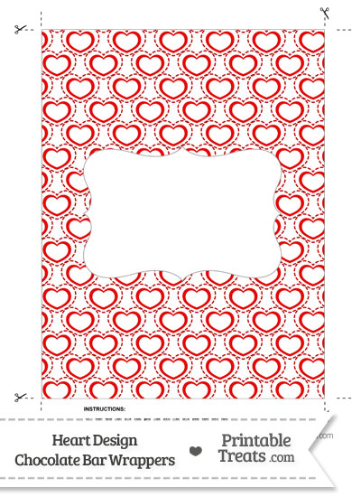 Red Heart Design Chocolate Bar Wrappers from PrintableTreats.com