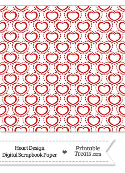 Red Heart Design Digital Scrapbook Paper from PrintableTreats.com